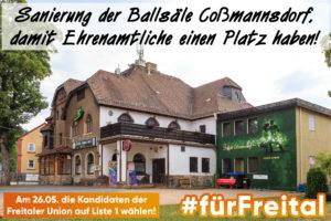 Erhalt Ballsäle Coßmannsdorf Freital